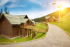 Sunset in mountain resort Stock Photography