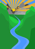 Sunset mountain and river vector illustration Royalty Free Stock Images