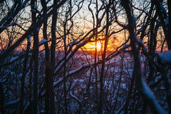 Sunset on the mountain Stock Photo
