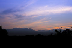 Sunset. Mountain and sky blackground Royalty Free Stock Images