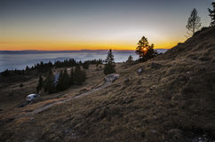 Sunset on the mountain Stock Photography