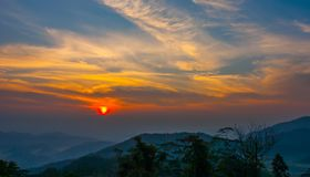 Sunset at mountain in Thailand royalty free stock photography