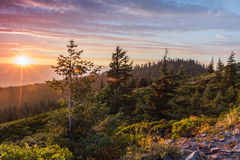 Sunset from a mountain top Royalty Free Stock Photo