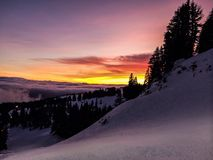 Sunset mountain trees  snow  winter holiday. Sunset in mountain Royalty Free Stock Photography