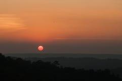 Sunset,mountain. A vibrant orange and golden sunset at khao kho,phetchabun thailand Stock Image