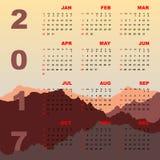 Sunset mountain view of 2017 calendar. Stock vector Stock Image