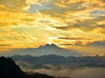Sunset, mountain view and mist at Pang Ma Pha, Mae Hong Son royalty free stock photography