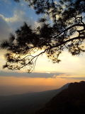 Sunset on the mountain. Sunset view on the top of mountain in Thailand Royalty Free Stock Image