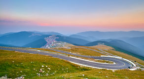 Sunset on Mountain Winding Road Royalty Free Stock Image
