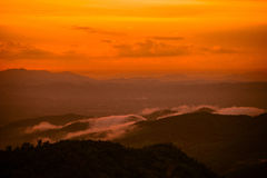 Sunset mountain Yellow Gold Royalty Free Stock Photo
