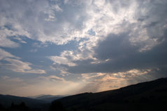 Sunset in mountains. Sunset in Carpatian mountains in summer royalty free stock photography