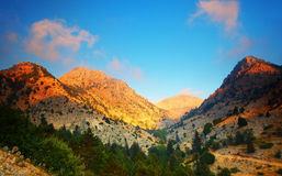 Sunset in the mountains royalty free stock image