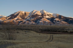 Sunset on Mountains. Winter sunset on the Absaroka mountain range in Montana Royalty Free Stock Photo