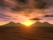 Sunset_mountains stock afbeelding