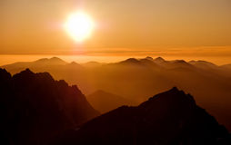 Sunset in mountains 2. Sunset over mountains in High Tatras, Slovakia Royalty Free Stock Image