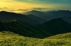 Sunset in the mountains Stock Photography