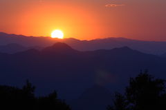 Sunset of mountains Stock Image