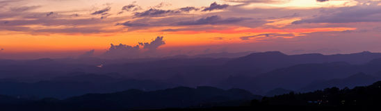 Sunset in mountains Stock Photos