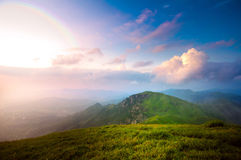 Sunset when the mountains Royalty Free Stock Image