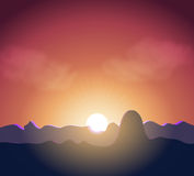 Sunset in mountains Stock Photography