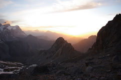 Sunset in the mountains. Sunset in the Tajik mountains Royalty Free Stock Photo