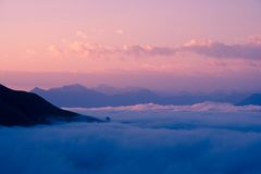 Sunset in the mountains. View of the Western Caucasus Royalty Free Stock Images