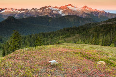Sunset and mountains Stock Photos