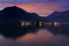 Sunset in the mountains. Bay of Kotor. Sunset in the mountains Royalty Free Stock Image