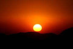 Sunset in the mountains. Colorful sunset with the mountains Stock Photography