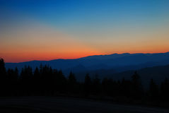 Sunset in mountains Royalty Free Stock Photography