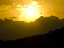Sunset in mountains Royalty Free Stock Photo