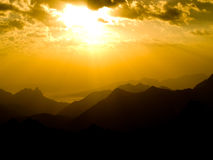 Sunset in mountains. Beautiful sunset in mountains. Caucasus. Bezengi Royalty Free Stock Image
