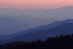 Sunset Mountains. The simple layers of the Smokies at sunset - Smoky Mountain Nat. Park, USA stock photos