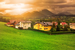 Sunset in the mountains of the Alps Royalty Free Stock Photography