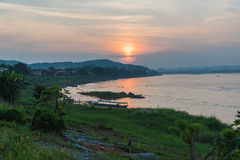 Sunset in mountains around chiang khan Loei Stock Photos