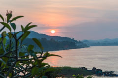 Sunset in mountains around chiang khan Loei Stock Image