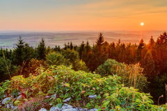 Sunset in the mountains of Bavaria Stock Images