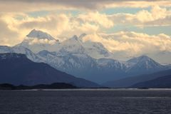 Sunset in the mountains. Beagle Channel, Argentina. stock image
