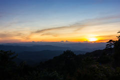 Sunset in the mountains. Beautiful sunset in the mountains. Thailand Royalty Free Stock Photo