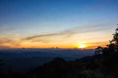 Sunset in the mountains. Beautiful sunset in the mountains. Thailand Royalty Free Stock Photography