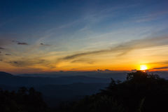 Sunset in the mountains. Beautiful sunset in the mountains. Thailand Royalty Free Stock Images