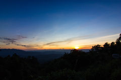 Sunset in the mountains. Beautiful sunset in the mountains. Thailand Stock Photography