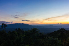Sunset in the mountains. Beautiful sunset in the mountains. Thailand Stock Photos