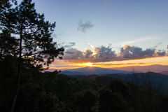 Sunset in the mountains. Beautiful sunset in the mountains. Thailand Stock Photo