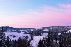 Sunset in the mountains. Carpathians Stock Photos