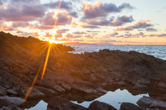 Sunset at mountains Stock Photos