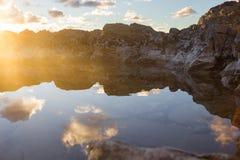 Sunset at mountains Stock Photo
