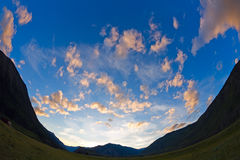 Sunset mountains clouds Royalty Free Stock Images