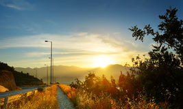 Sunset in the mountains. Crete, Greece Royalty Free Stock Image