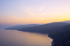 Sunset in the mountains of Crimea near  sea. Chaban-Calais. Royalty Free Stock Images